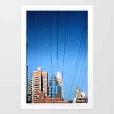 Buildings and Power Lines Art Print
