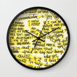 Sex Positive. It's all black and yellow. Wall Clock