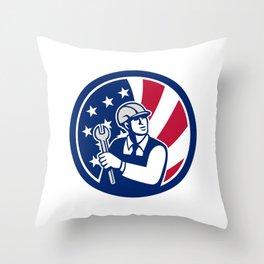 American Engineer USA Flag Icon Throw Pillow
