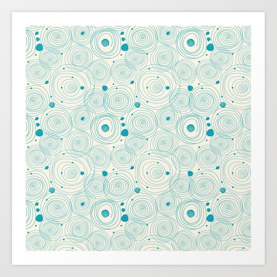 Blue Scribbles Pattern 04 Art Print