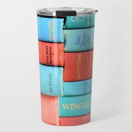 Pink and Aqua Book Stack Travel Mug