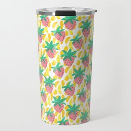 Pink Strawberries Travel Mug