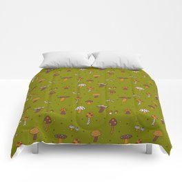 Mushrooms Green Comforters