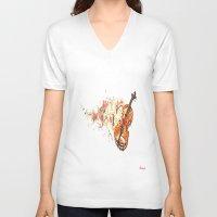 violin V-neck T-shirts featuring violin by arnedayan