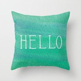 Hello Mint Throw Pillow