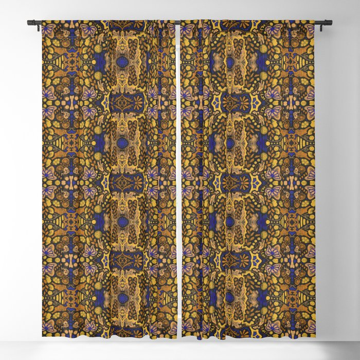 Indian Summer, Bohemian Arabesque Pattern, Golden Yellow Blackout Curtain