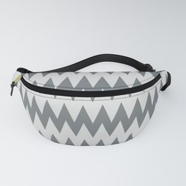 Night Watch Pewter Green and White Zigzag Pointed, Rippled Horizontal Line Pattern Fanny Pack