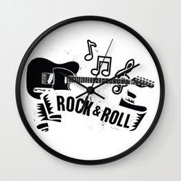 Rocknroll with guitar Wall Clock