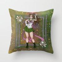sailor jupiter Throw Pillows featuring Sailor Jupiter by Teo Hoble