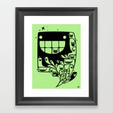 Happy Inside - 1-Bit Oddity - Black Version Framed Art Print