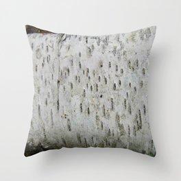 Birch Bark on a Fallen Tree Throw Pillow