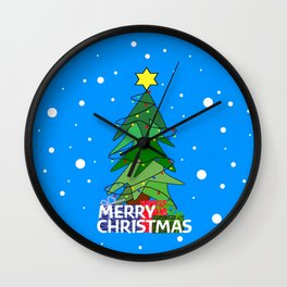Merry Christmas Whimsical Tree Wall Clock