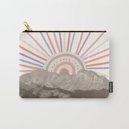 Summerlin Mountain // Abstract Vintage Mountains Summer Sun Vibe Drawing Happy Wall Hanging Carry-All Pouch