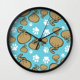 Dumpling Cat blue pattern Wall Clock