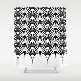 black and white art deco inspired fan pattern Shower Curtain