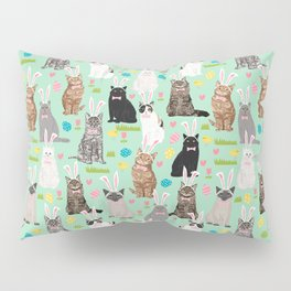 Cat easter bunny spring cute cat breeds cat lady kittens pattern Pillow Sham