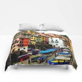 Cinque Terre Boats & Colorful Homes Comforters