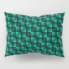 Fashionable large lozenges from small light blue intersecting squares in gradient dark cage. Pillow Sham