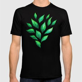 Dark Abstract Green Leaves T-shirt