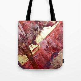 Desert Sun: A bright, bold, colorful abstract piece in warm gold, red, yellow, purple and blue Tote Bag