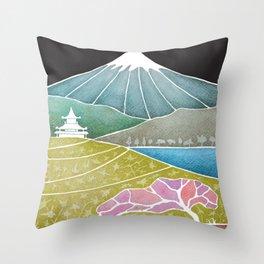 volcano, Japanese landscape Throw Pillow