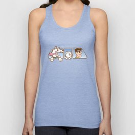 Dog ,cat and man in car window Unisex Tank Top