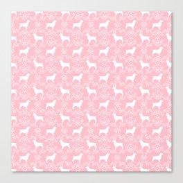 Boykin Spaniel silhouette florals spaniels dog breed pink Canvas Print