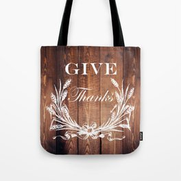 rustic western country barn wood farmhouse wheat wreath give thanks Tote Bag