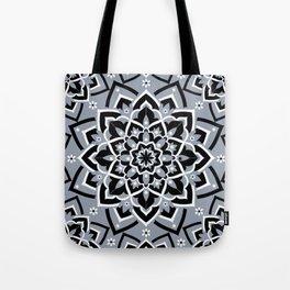 'Immortal Spirit' Dusty Blue Black & White Mandala Design Tote Bag