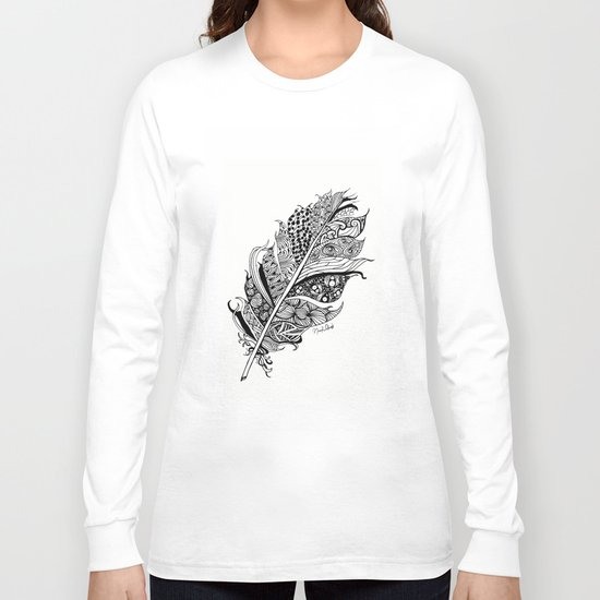 Feather Black and White 3 feathers Bird birds Zen Long Sleeve T-shirt