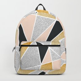 Geo Pattern (Nude, Gold, Glitter, Marble and Black) Backpack