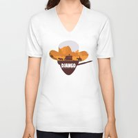 django V-neck T-shirts featuring Django Unchained by TxzDesign