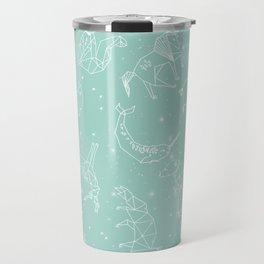 Origami Constellations - geometric animals constellations design - mint Travel Mug