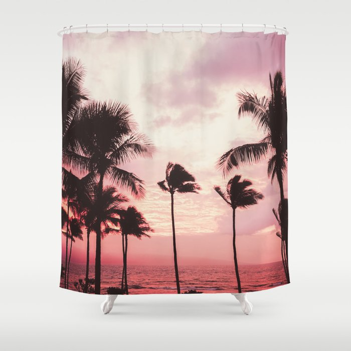 Tropical Palm Tree Pink Sunset Shower Curtain