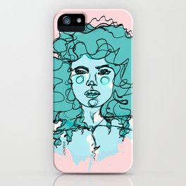Curly Turquoise iPhone Case