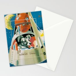 Vintage drawing of Russian Sputnik space dog Laika retro space art print Stationery Cards
