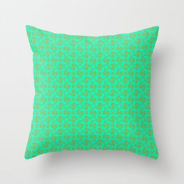 Stylized Art Deco S Monogram Spur on Turquoise Mint Green Ranch & Rodeo Design Pattern Throw Pillow