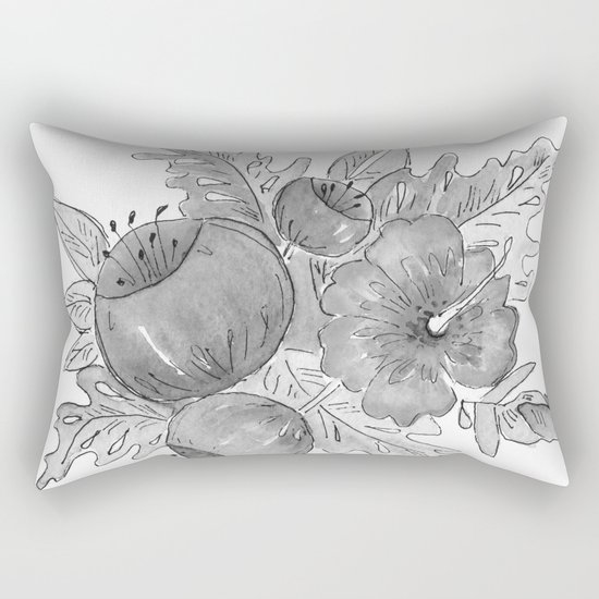 Tropical exotic flowers and leaves . Rectangular Pillow