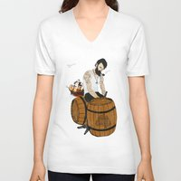 moby V-neck T-shirts featuring Captain Moby by Napa