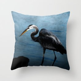 Great Blue On The Rocks Throw Pillow