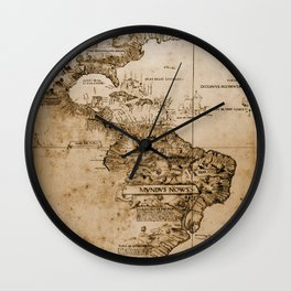 Old map of America. Wall Clock
