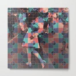 Old love kiss + Hexagon pattern Metal Print