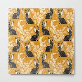 Jackalope - marigold and black  Metal Print