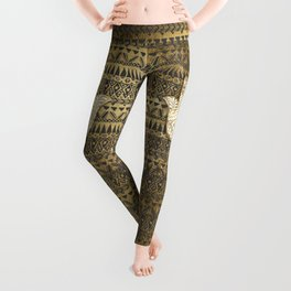 Faux Print Gold Hamsa Hand and Tribal Aztec Leggings