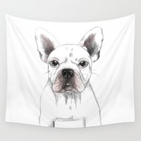 french bulldog Wall Tapestries featuring FRENCH BULLDOG by Catalina Graphic