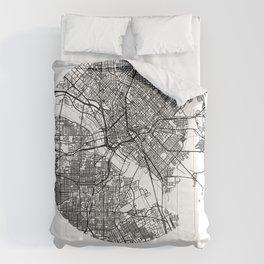 Dallas Texas Minimal Modern Circle Street Map Comforters