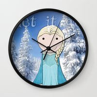 frozen elsa Wall Clocks featuring Elsa: Frozen  by Jen Talley