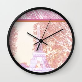 The French Eiffel tower in pink! Wall Clock