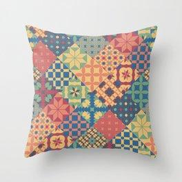 Leiden vintage cheater quilt colorful geometric design Throw Pillow