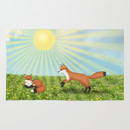 sunshine foxes Rug